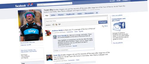 Suivez l'actualité du Team Sky sur Facebook