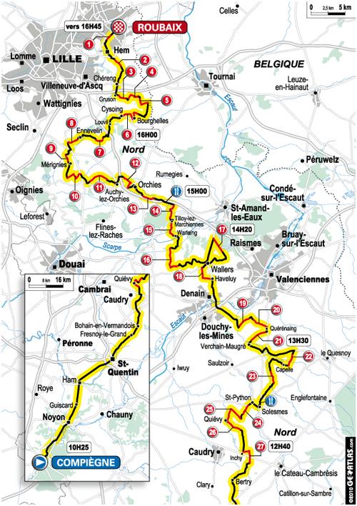 Le parcours de Paris-Roubaix 2010