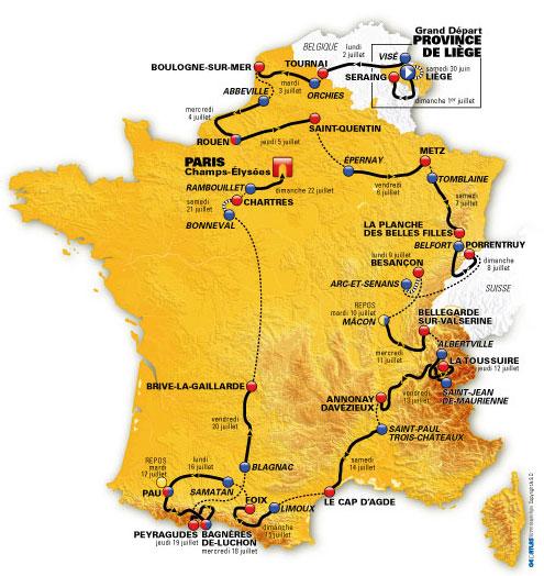 La carte du Tour de France 2012