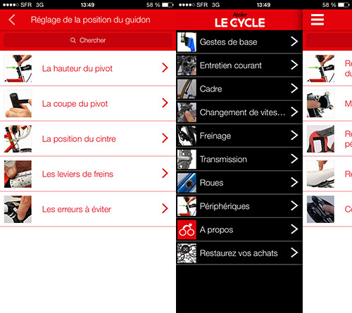Les menus de l'application l'Atelier Le Cycle