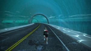 Traversée d'un tunnel sur Zwift